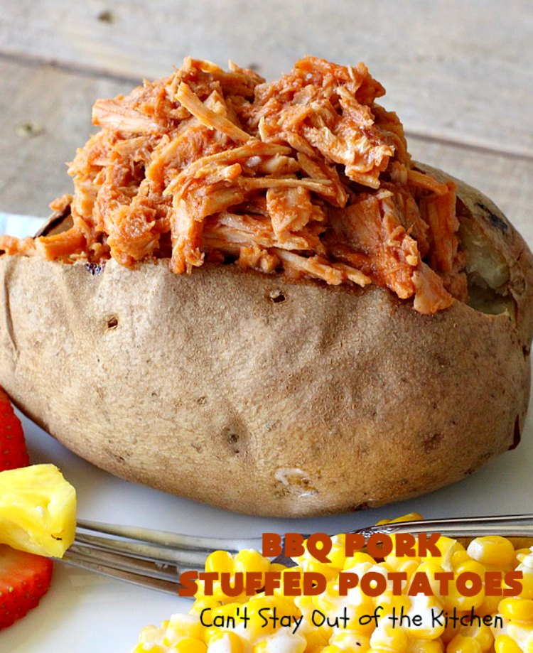 BBQ Pork Stuffed Potatoes | Can't Stay Out of the Kitchen | these amazing #StuffedPotatoes are filled with the best #BBQPork #recipe ever! Every bite is succulent & amazing. #pork #BBQ #GlutenFree #potatoes #BBQPorkStuffedPotatoes #BarbecuePork