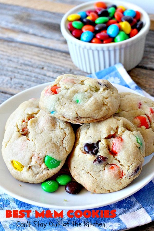 BEST M&M Cookies   Can't Stay Out of the Kitchen   These fabulous #cookies are divine! They start with #copycat #MrsFields #chocolate chip cookies but substitute #M&Ms. They are so heavenly. #dessert