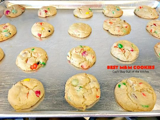 BEST M&M Cookies | Can't Stay Out of the Kitchen | These fabulous #cookies are divine! They start with #copycat #MrsFields #chocolate chip cookies but substitute #M&Ms. They are so heavenly. #dessert