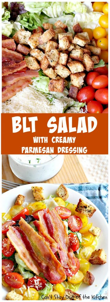 BLT Salad | Can't Stay Out of the Kitchen | spectacular #salad with a homemade #parmesan dressing & homemade #glutenfree croutons! Amazing.