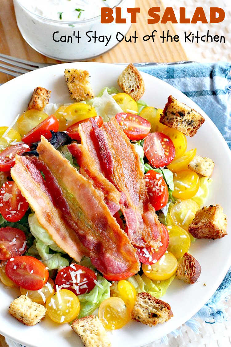 BLT Salad | Can't Stay Out of the Kitchen | This spectacular #salad takes the best of #BLT sandwiches and makes them into a salad instead! Served with a homemade creamy #parmesan dressing & homemade #GlutenFree #croutons! Amazing. #BLTSalad #bacon #CreamyParmesanDressing #tomatoes #pork