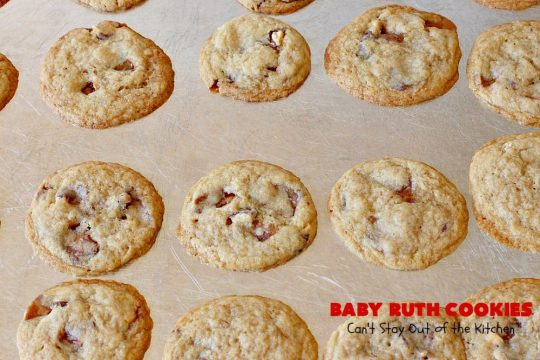 Baby Ruth Cookies | Can't Stay Out of the Kitchen | these fantastic #cookies contain loads of #BabyRuthCandyBars in each bite. They're filled with #chocolate #caramel & #peanuts. These will cure any sweet tooth craving. #dessert #Holiday #HolidayDessert #BabyRuthDessert #ChristmasCookieExchange #BabyRuthCookies #ChocolateDessert #CaramelDessert #PeanutButterDessert