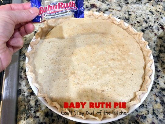 Baby Ruth Pie | Can't Stay Out of the Kitchen | this outrageously delicious #pie is made with #BabyRuthBars. It has all the #chocolate,#caramel & #peanut flavor you love in a #dessert. If you enjoy #BabyRuth candy bars, you'll go crazy over this amazing pie. #ValentinesDay #holiday #HolidayDessert #PeanutButterDessert #ChocolateDessert #CaramelDessert #BabyRuthPie