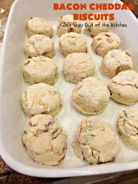 Bacon Cheddar Biscuits | Can't Stay Out of the Kitchen | absolutely the BEST #Biscuits ever! These are so mouthwatering you'll have a hard time not gorging yourself! Terrific for dinner or for a weekend or #holiday #breakfast. #Bacon #Chives #CheddarCheese #BaconCheddarBiscuits #BaconBiscuits #Pork #Easter #EasterSideDish #MothersDay #MothersDaySideDish #FathersDay #FathersDaySideDish