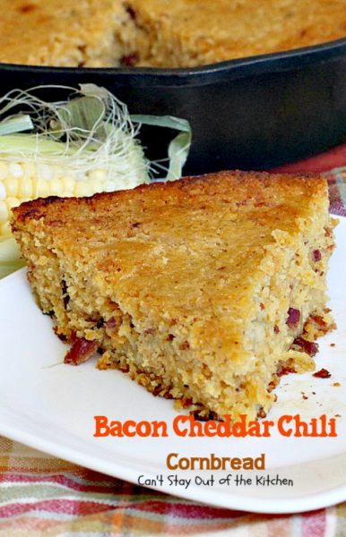 Bacon Cheddar Chili Cornbread | Can't Stay Out of the Kitchen | this #cornbread is absolutely spectacular! #bacon #cheddarcheese and #greenchilies make this so mouthwatering you'll be drooling from the first bite! #glutenfree