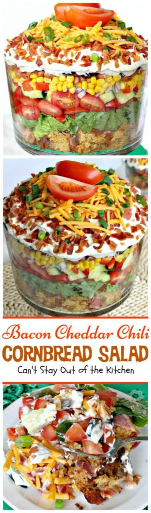 Bacon Cheddar Chili Cornbread Salad | Can't Stay Out of the Kitchen