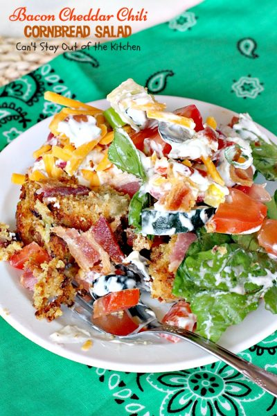 Bacon Cheddar Chili Cornbread Salad | Can't Stay Out of the Kitchen | this awesome #salad is to die for! It has a savory homemade #bacon #cornbread & uses homemade #RanchDressing mix. This fabulous Texas-style salad is great for potlucks and backyard barbecues. #glutenfree