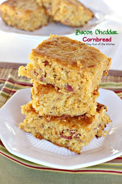 Bacon Cheddar Cornbread | Can't Stay Out of the Kitchen | BEST #cornbread I've ever eaten. #bacon #cheddarcheese #glutenfree