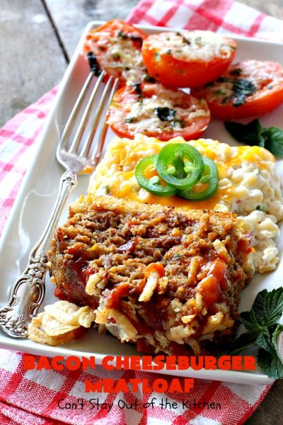 Bacon Cheeseburger Meatloaf | Can't Stay Out of the Kitchen | this awesome #PaulaDeen #meatloaf is incredible. It tastes like eating #bacon #cheeseburgers with #FrenchFriedOnions on top. Our company loved this meatloaf. #beef