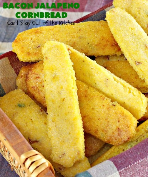 Bacon Jalapeno Cornbread | Can't Stay Out of the Kitchen | these  #CornPones are absolutely delicious. They're made with #GreekYogurt & #GlutenFree flour. They also use #bacon, #jalapenos & #Gruyere #cheese. Great side for #FathersDay or any #TexMex meal. #cornbread #BaconJalapenoCornbread