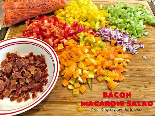 Bacon Macaroni Salad | Can't Stay Out of the Kitchen | this fabulous #macaronisalad is spectacular! It's filled with #bacon, bell peppers, hard-boiled #eggs in a delicious #salad dressing. I used #glutenfree #pasta. Perfect side salad for potlucks & summer #holiday fun like #MemorialDay, #FourthofJuly & #LaborDay.