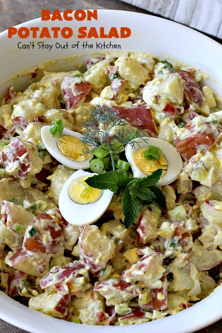 Bacon Potato Salad | Can't Stay Out of the Kitchen | you'll be salivating after the first bite of this amazing #potatosalad. #Bacon makes everything better! Perfect for summer #holidays like #FourthofJuly & #LaborDay. It's also great for potlucks & backyard #barbecues. #glutenfree #bacon #salad