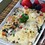 Bacon Spinach and Smoked Gouda Breakfast Casserole | Can't Stay Out of the Kitchen | this fantastic #breakfast #casserole is the best ever! It's made with toasted #FrenchBread cubes, #spinach, #bacon, #mushrooms & #GoudaCheese. It's perfect for a #holiday #breakfast like #Christmas or #NewYearsDay. So easy since it's prepared the day before! #cheese #pork #HolidayBreakfast #HolidayCasserole #ChristmasBreakfast #NewYearsDayBreakfast #BreakfastCasserole