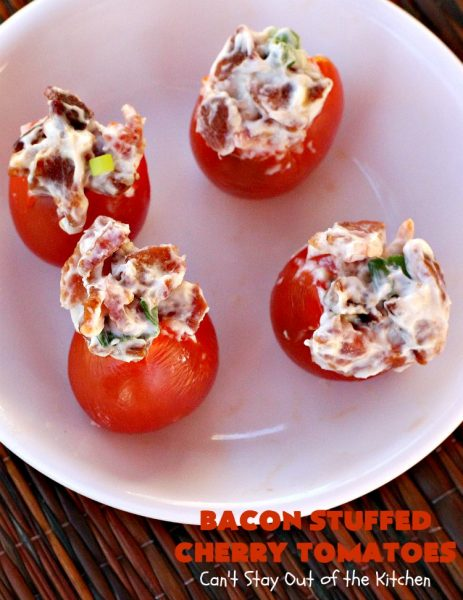 Bacon Stuffed Cherry Tomatoes | Can't Stay Out of the Kitchen | this 5-ingredient #appetizer is one of our favorites. Guests always rave over #tomatoes stuffed with #bacon! They're perfect for #tailgating parties, potlucks or the #SuperBowl. #pork #HolidayAppetizer #SuperBowlAppetizer #StuffedTomatoes #GlutenFree #GlutenFreeAppetizer #CherryTomatoes