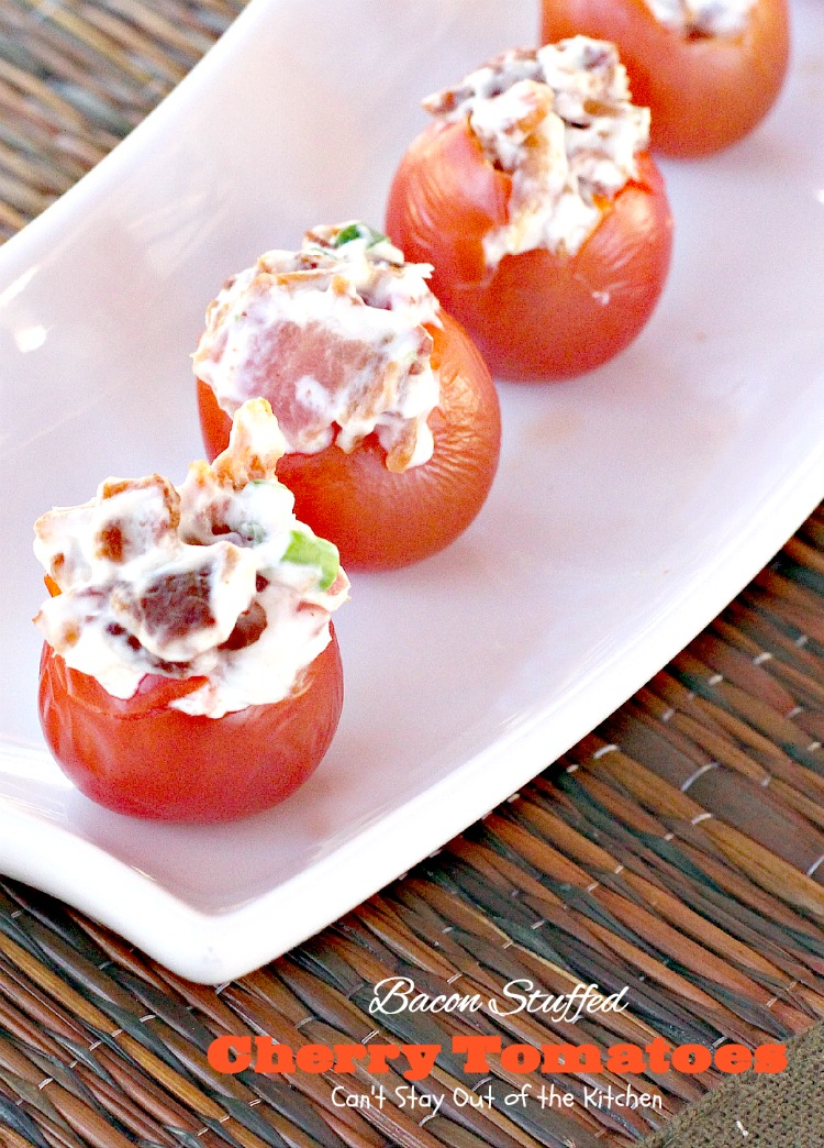 Bacon Stuffed Cherry Tomatoes | Can't Stay Out of the Kitchen | awesome #appetizer uses only 5 ingredients! Great for #SuperBowl or #tailgating parties. #glutenfree #cherrytomatoes #bacon
