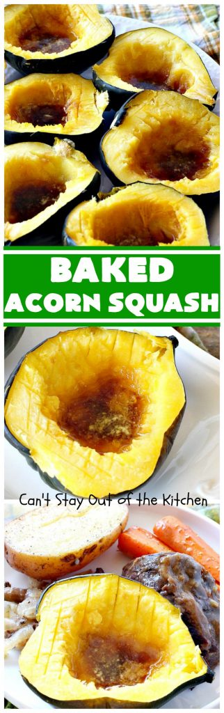 Baked Acorn Squash | Can't Stay Out of the Kitchen | this amazing 3-ingredient recipe is so easy & a fantastic way to get your kids to eat #acornsquash! It's the perfect side dish for company or #holiday dinners like #Easter or #MothersDay. #glutenfree
