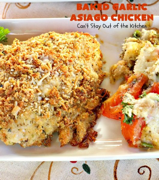 Baked Garlic Asiago Chicken | this 6-ingredient #chicken entree can be oven ready in 5 minutes! It's so mouthwatering & delicious that you'll want to serve it for company or #holiday dinners too. #asiago #MothersDay #FathersDay