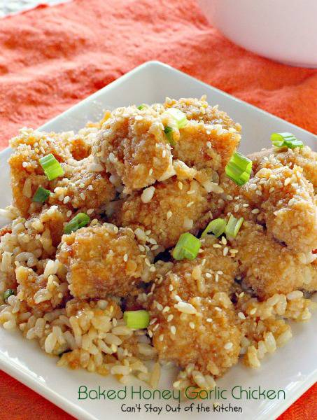 Baked Honey Garlic Chicken | Can't Stay Out of the Kitchen | This #chicken dish is sensational! It uses #pankobreadcrumbs for the chicken and #Sriracha in the #sauce. #asian #rice