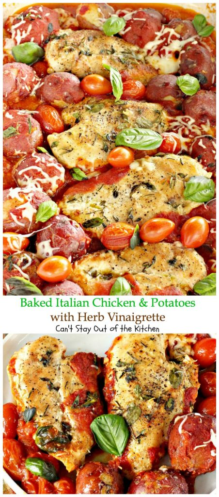 Baked Italian Chicken and Potatoes with Herb Vinaigrette | Can't Stay Out of the Kitchen