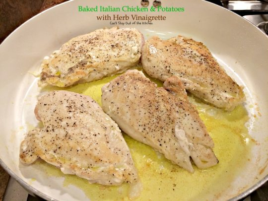 Baked Italian Chicken and Potatoes with Herb Vinaigrette | Can't Stay Out of the Kitchen | fantastic #chicken entree with #Italian flavors. #glutenfree #cleaneating #potatoes #tomatoes