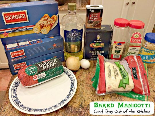 Baked Manicotti | Can't Stay Out of the Kitchen | BEST #manicotti recipe ever! This one uses #beef, #parmesancheese and #mozzarellacheese in a lovely #marinarasauce. No ricotta. #Italian #pasta