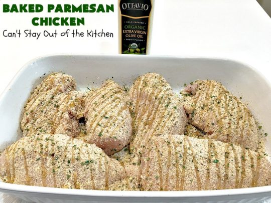 Baked Parmesan Chicken | Can't Stay Out of the Kitchen | this easy & delicious #chicken entree can be oven ready in about 5 minutes! It's perfect for weeknight or company dinners. #ParmesanCheese #BakedParmesanChicken