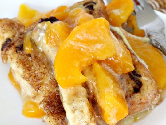 Baked Peach French Toast | Can't Stay Out of the Kitchen | spectacular ...