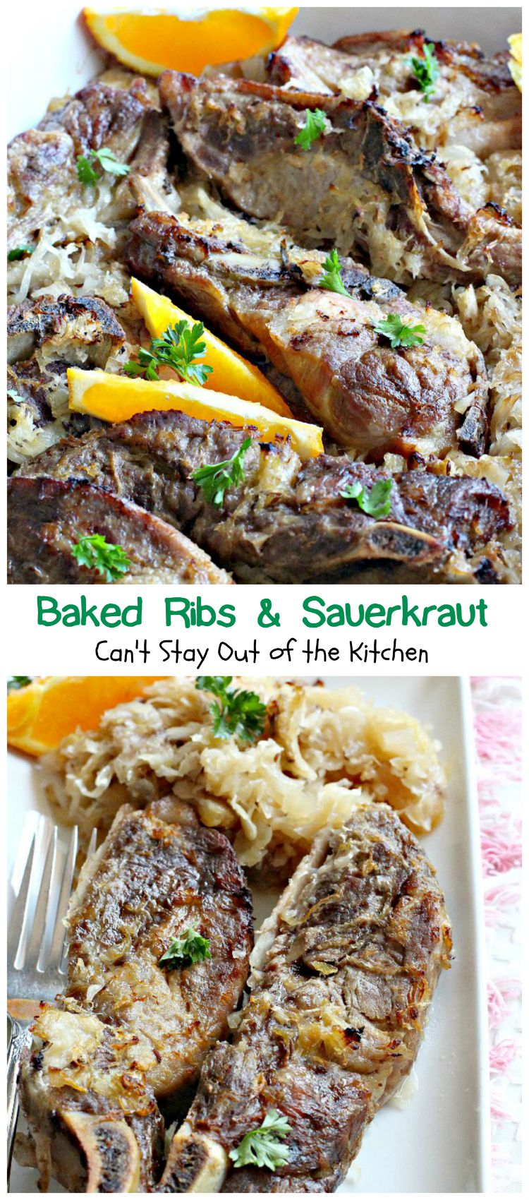 Baked Ribs and Sauerkraut | Can't Stay Out of the Kitchen