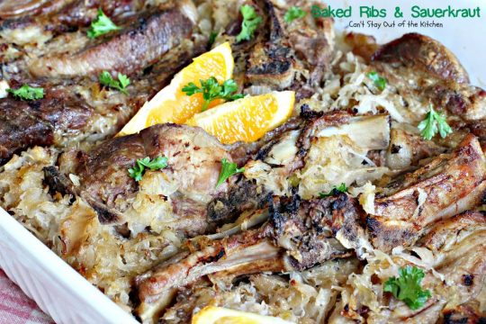 Baked Ribs & Sauerkraut | Can't Stay Out of the Kitchen | wonderful old-world recipe. The #sauerkraut is mixed with #apples, onions, brown sugar and caraway seeds for delightful taste. #pork #ribs