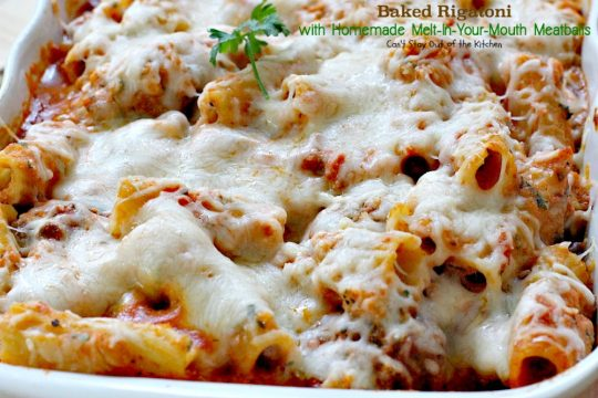 Baked Rigatoni with Homemade Melt-In-Your-Mouth Meatballs | Can't Stay Out of the Kitchen | homemade #meatballs cook in #spaghettisauce then are layered with a #rigatoni & #ricottacheese mixture with both #parmesan and #mozzarella cheeses on top. So delectable you won't be able to stop eating! #pasta