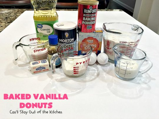 Baked Vanilla Donuts | Can't Stay Out of the Kitchen | Wow your #Thanksgiving or #Christmas #breakfast guests with these spectacular homemade #donuts. They are glazed 3 times in vanilla icing before adding #sprinkles. I made them a day in advance & they were still heavenly. #holiday #holidaybreakfast #ThanksgivingBreakfast #BakedDonuts #ChristmasBreakfast #vanilladonuts