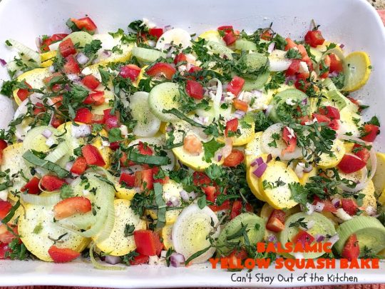 Balsamic Yellow Squash Bake | Can't Stay Out of the Kitchen | this delightful #SideDish has a lovely #OliveOil & #Balsamic #Vinaigrette drizzled over top before baking. It's a terrific #Veggie for #holiday, company or family dinners. It's also #healthy, #LowCalorie, #GlutenFree & #Vegan. #VeganSideDish #YellowSquash #GlutenFreeSideDish #EasterSideDish
