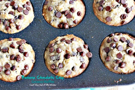 Banana Chocolate Chip Coconut Muffins | Can't Stay Out of the Kitchen | We adored these delectable #muffins filled with #bananas, #coconut #chocolatechips, #walnuts & almond flavoring. Great choice for a #holiday #breakfast.