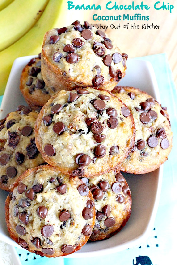 Banana Chocolate Chip Coconut Muffins | Can't Stay Out of the Kitchen ...
