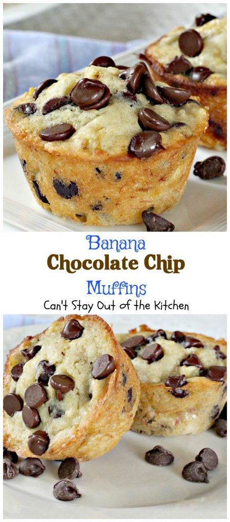 Banana Chocolate Chip Muffins | Can't Stay Out of the Kitchen | One bite of these #muffins will have you drooling! Great for #breakfast or #dessert! #bananas #chocolate #chocolatechips
