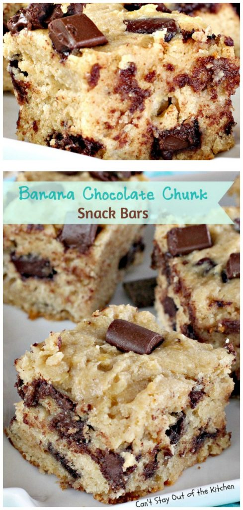 Banana Chocolate Chunk Snack Bars | Can't Stay Out of the Kitchen | delicious #shortbread bars with #bananas #chocolate chunks & #Greekyogurt. #dessert #cookie