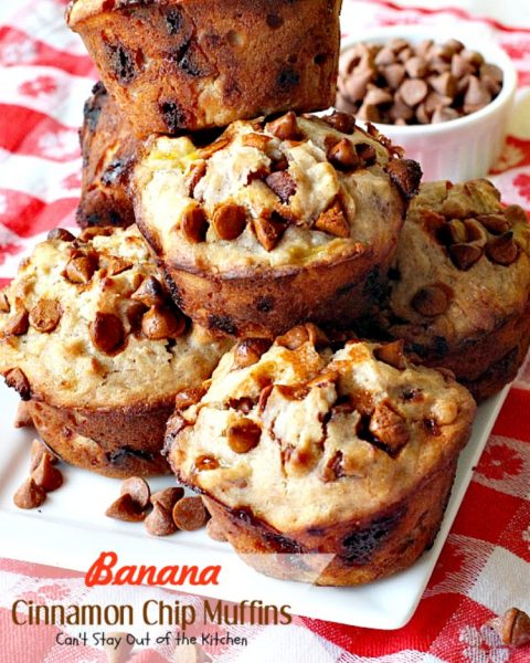 Banana Cinnamon Chip Muffins | Can't Stay Out of the Kitchen | you will drool over every bite of these luscious #banana #muffins. #cinnamonchips make them incredibly amazing. #breakfast