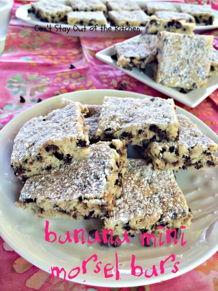 Banana Mini Morsel Bars | Can't Stay Out of the Kitchen