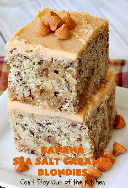 Banana Sea Salt Caramel Blondies | Can't Stay Out of the Kitchen | these amazing #brownies have triple the #caramel flavor with caramel chips in the cookie, icing and caramel sauce drizzled over top! Perfect #dessert for potlucks, #tailgating parties, summer #holiday fun or backyard #BBQs. #cookies #bananas