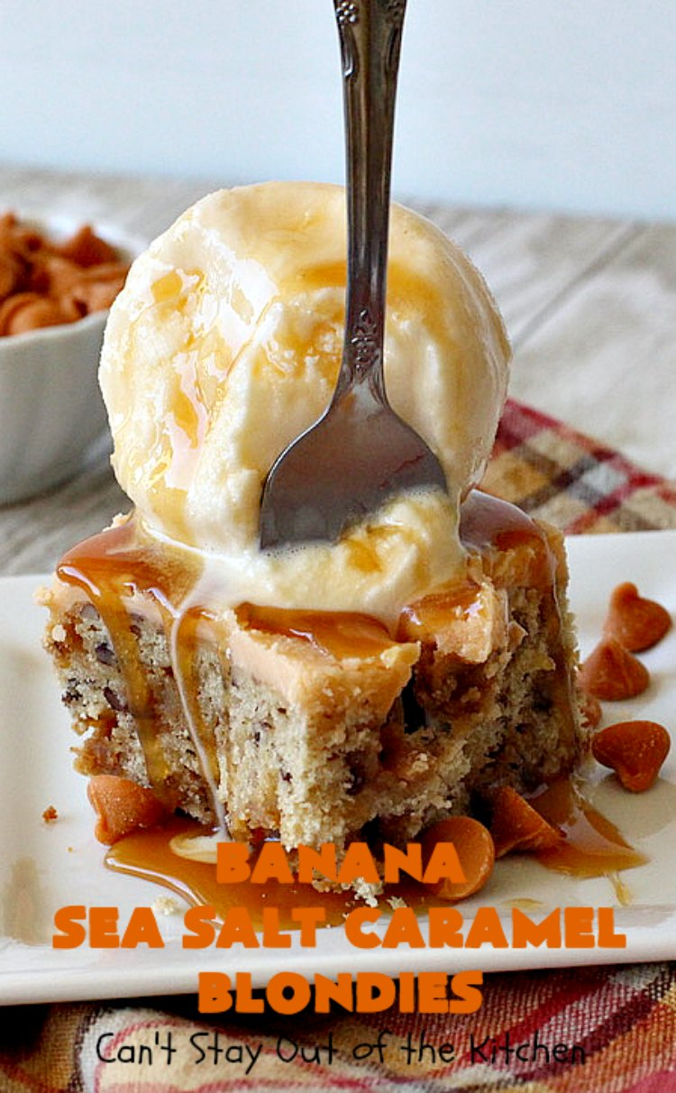 Banana Sea Salt Caramel Blondies