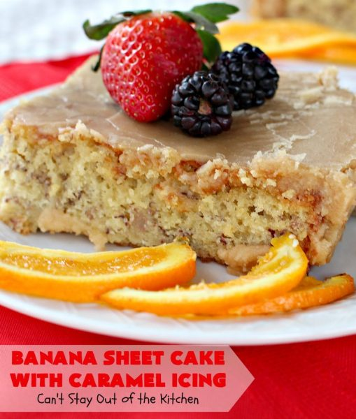 Banana Sheet Cake with Caramel Icing | Can't Stay Out of the Kitchen | this rich, decadent cake has a homemade #caramel icing to die for. The #cake is easy since it starts with a boxed #cakemix. This highly requested #recipe is a family favorite. #bananas #dessert #BananaSheetCake #BananaDessert #CaramelDessert #HolidayDessert