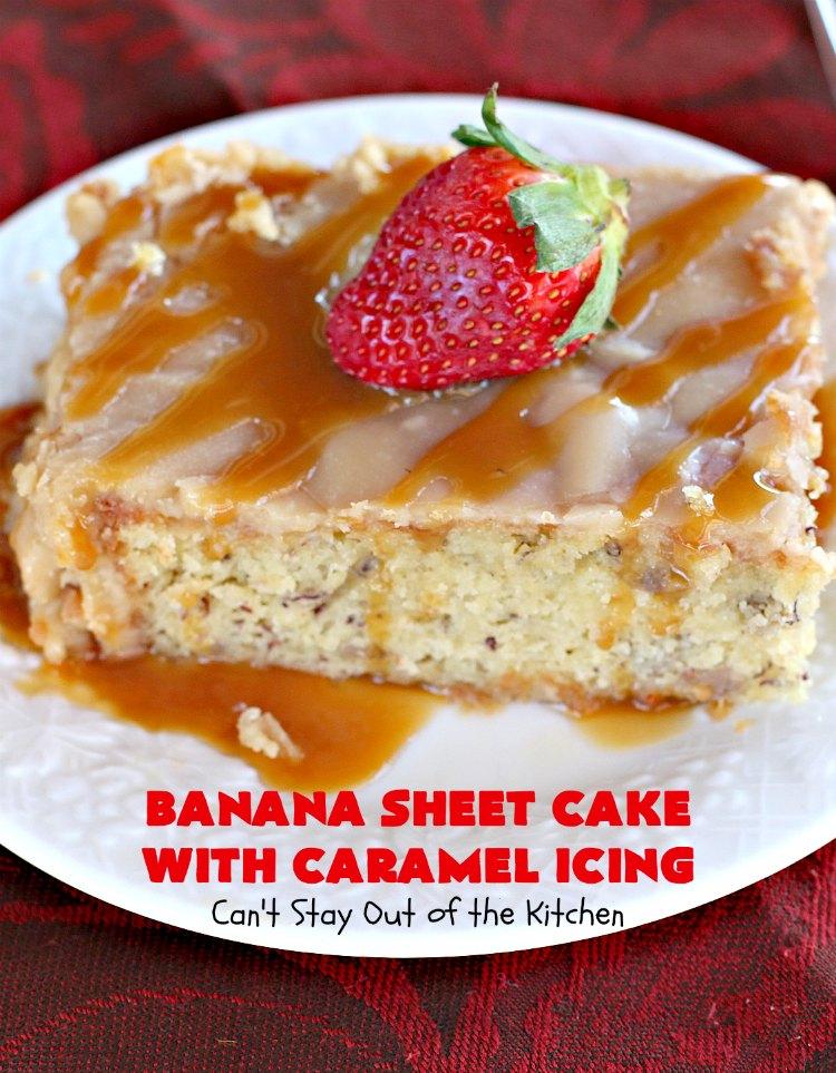 Banana Sheet Cake with Caramel Icing