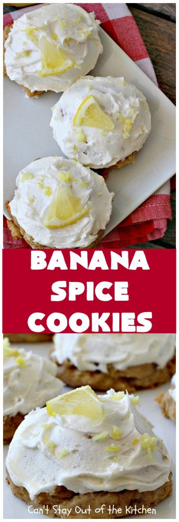 Banana Spice Cookies | Can't Stay Out of the Kitchen | these #cookies are fantastic. The icing is heavenly. Perfect for #MemorialDay or other summer #holidays. Great way to use up #bananas too! #dessert