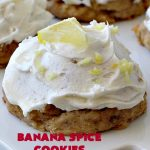 Banana Spice Cookies   Can't Stay Out of the Kitchen   these #cookies are fantastic. The icing is heavenly. Perfect for #MemorialDay or other summer #holidays. Great way to use up #bananas too! #dessert