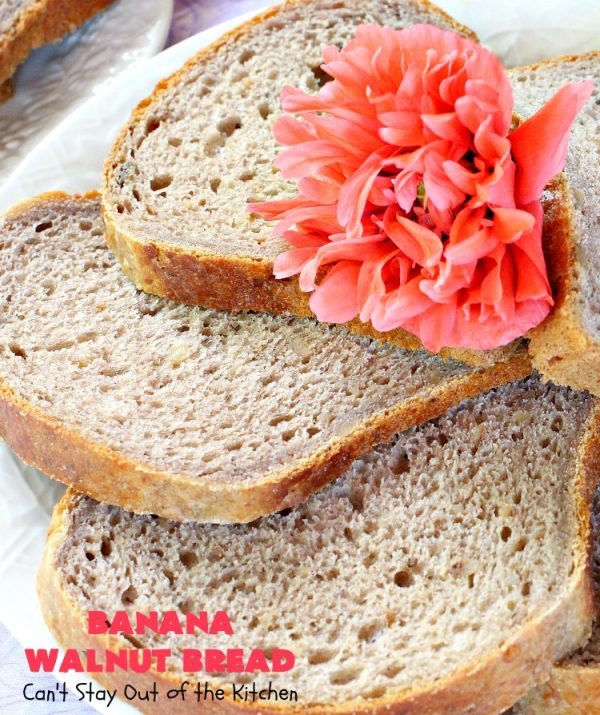 Banana Walnut Bread | Can't Stay Out of the Kitchen | this wholesome #BananaBread #recipe is so easy since it's tossed in the #breadmaker. It's light and fluffy and great for any kind of side dish or for #breakfast. #bread #BananaWalnutBread #HomeBakedBread #walnuts