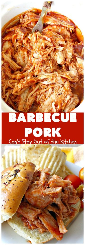 Barbecue Pork | Can't Stay Out of the Kitchen | this is the BEST pulled #pork #recipe ever! We serve it on onion rolls, plain or stuffed in baked potatoes. It's finger lickin' good! The homemade #BBQ sauce is amazing. #BarbecuePork #PulledPork #Sandwich #Crockpot #BBQPorkSandwiches #SlowCooker