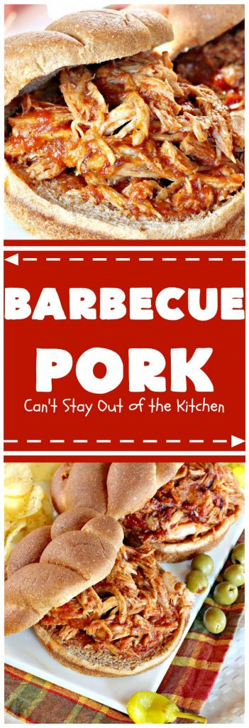Barbecue Pork | Can't Stay Out of the Kitchen | the best pulled #pork recipe ever! Pork tenderloins or roasts cook in the crockpot overnight then a homemade #BBQ sauce is added after cooking. We enjoy this served over Onion Rolls, but it's also great plain. Perfect for summer cookouts. The pork by itself is #glutenfree