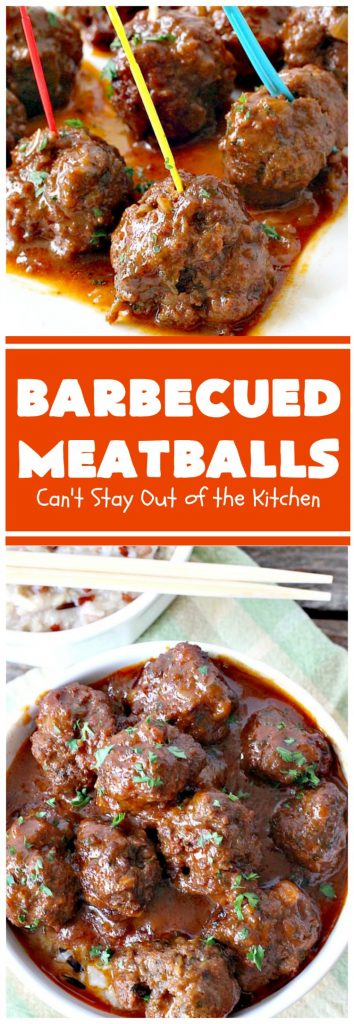 Barbecued Meatballs | Can't Stay Out of the Kitchen | this mouthwatering #slowcooker dish is great as an #appetizer or served over rice for a main dish. Homemade #BBQ sauce is wonderful. The #meatballs are #glutenfree.