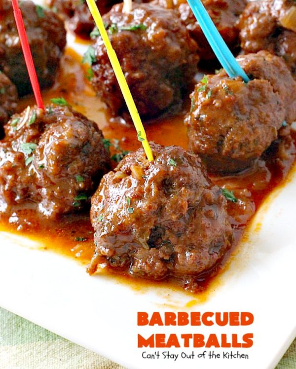 Barbecued Meatballs   Can't Stay Out of the Kitchen   this mouthwatering #slowcooker dish is great as an #appetizer or served over rice for a main dish. Homemade #BBQ sauce is wonderful. The #meatballs are #glutenfree.