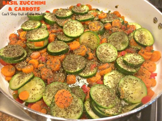 Basil Zucchini and Carrots | Can't Stay Out of the Kitchen | this quick & easy #recipe is terrific for weeknight suppers, or #holiday or company dinners. It tastes wonderful & only uses a handful of ingredients! #Zucchini #carrots #glutenFree #HolidaySideDish #BasilZucchiniAndCarrots